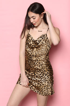 J.O.A. Cowl Leopard Mini Dress