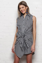 Reverse When We Were Young Tie Front Shirt Dress - Gingham