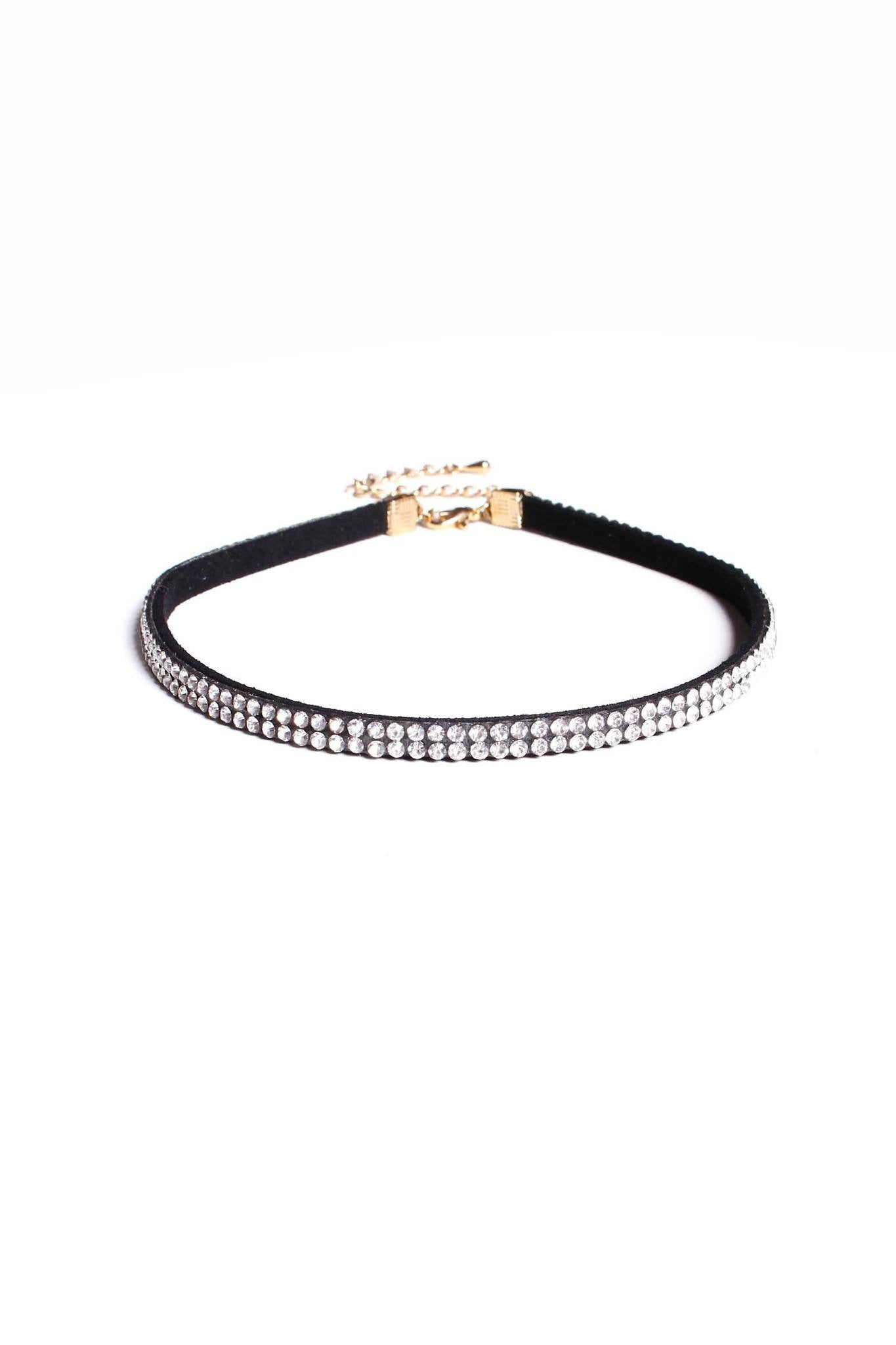 Lovers Lane Rhinestone Choker - Black