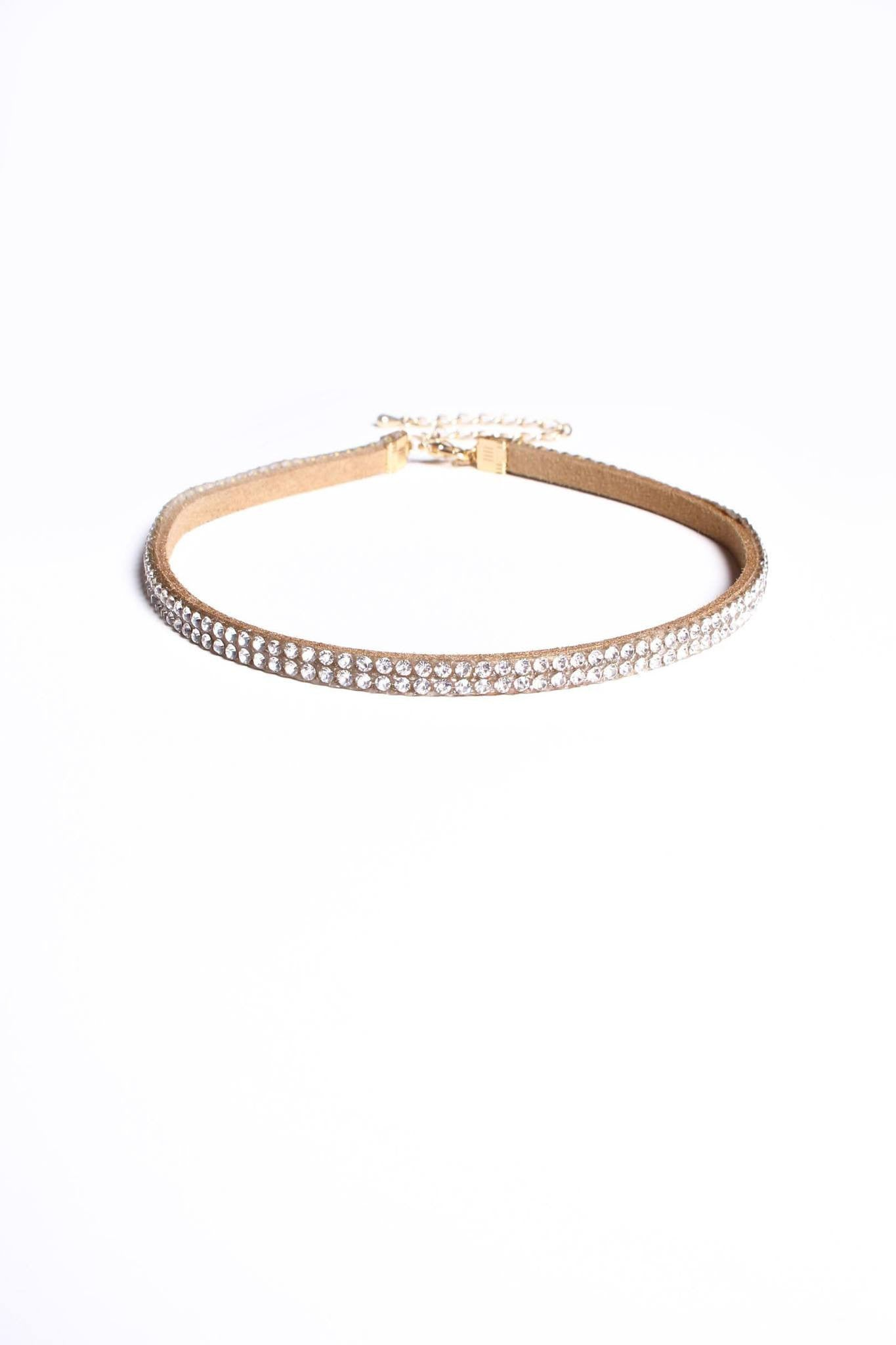 Lovers Lane Rhinestone Choker - Taupe