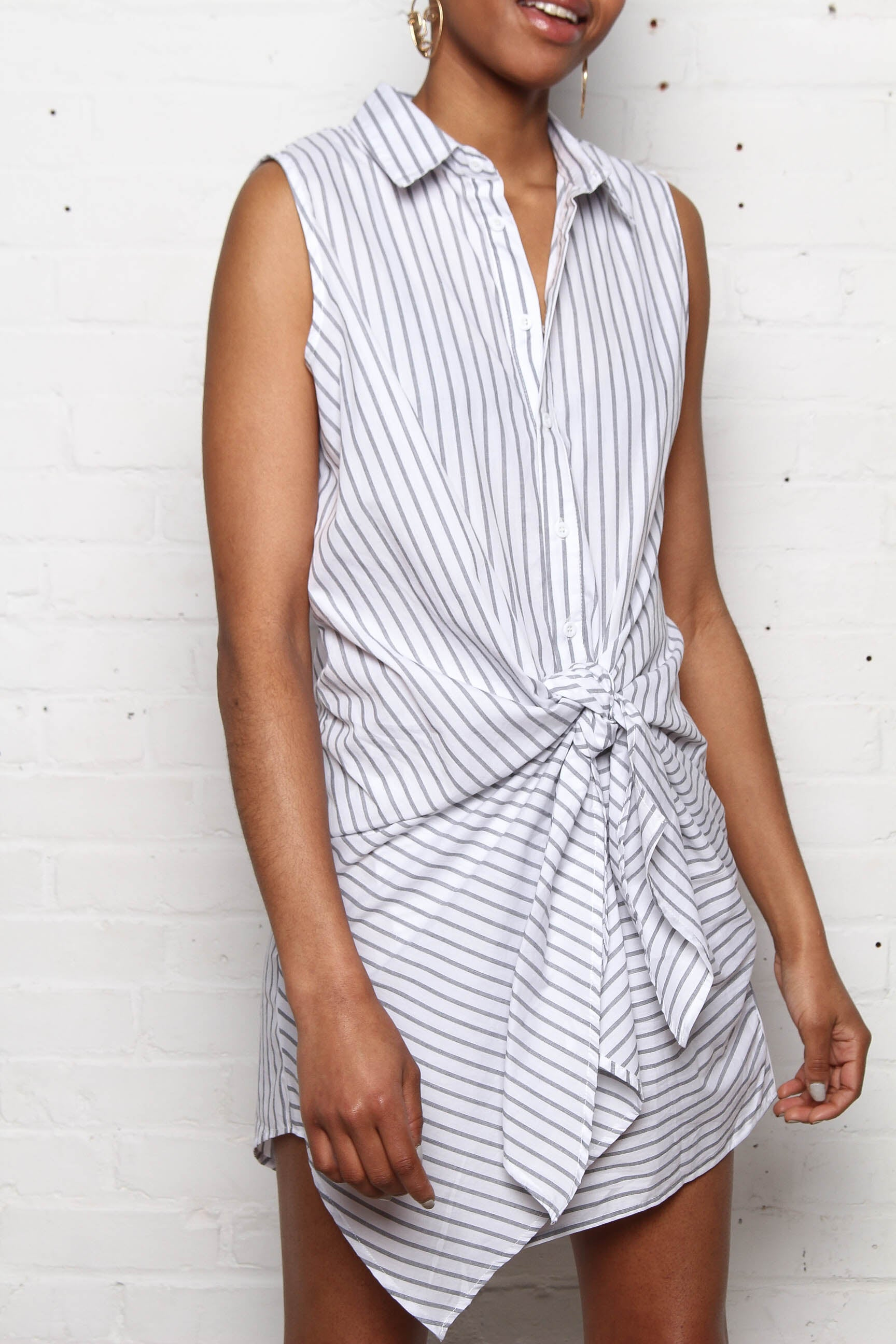 Reverse When We Were Young Tie Front Shirt Dress - Stripe