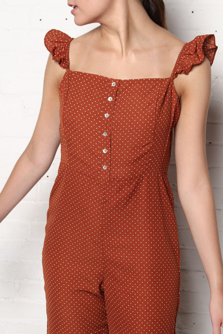 Lucca Madelyn Ruffle Jumpsuit - Russet Polka Dot