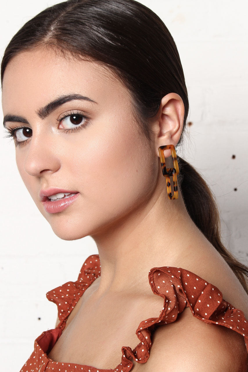 Acrylic Link Earrings - Tortoise Shell