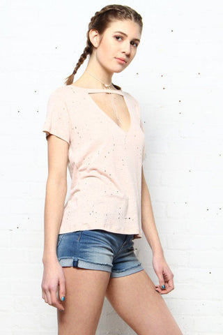 In A Fix Distressed Tee - Blush