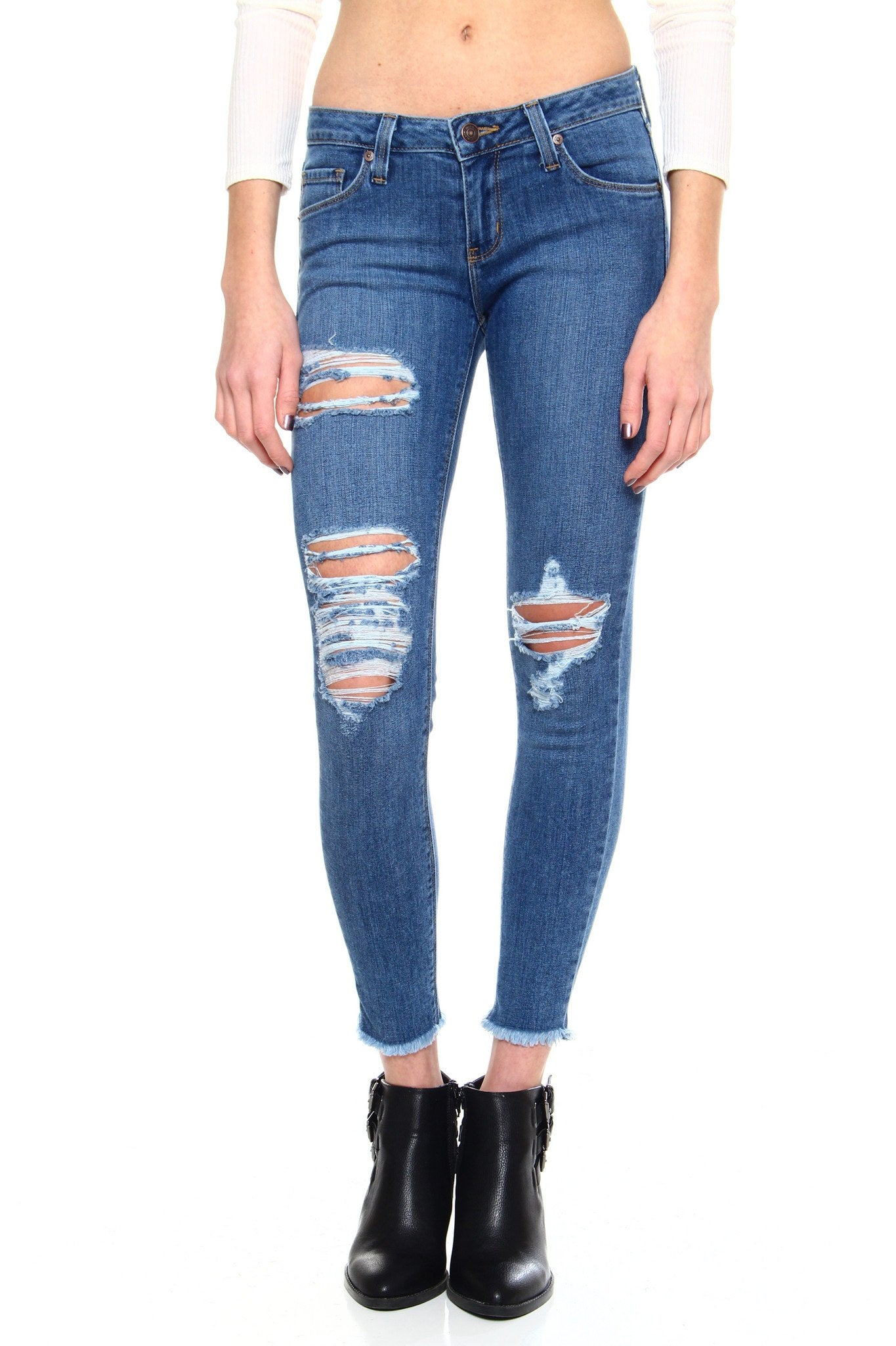 Frayed Not Skinnies - Medium Wash