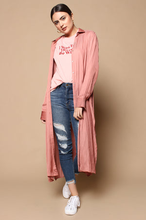 Honey Punch Buttondown Belted Duster - Mauve