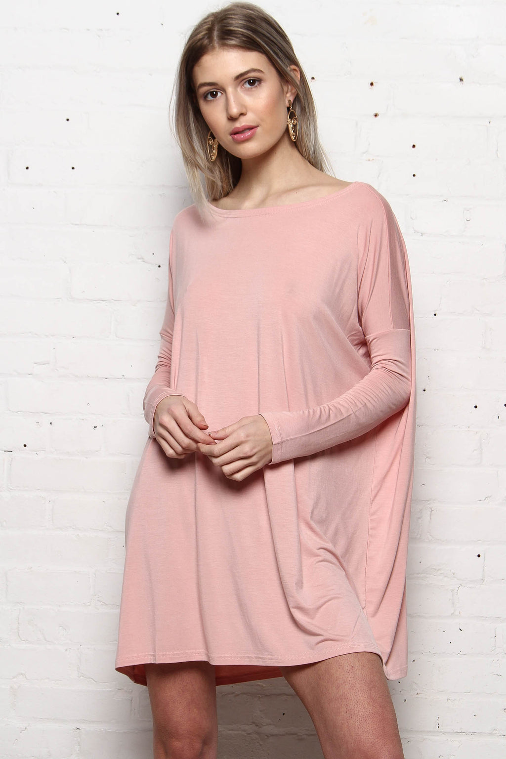 Easy Does It Everyday Tunic Dress - Blush