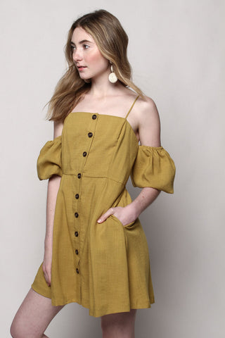 JOA Cold Shoulder Button Down Dress - Gold