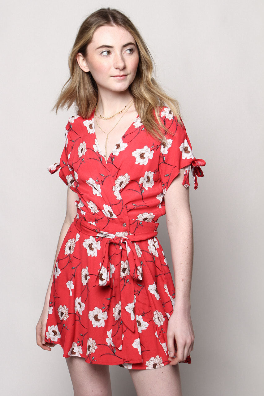 Poppy Floral Print Wrap Dress - Red