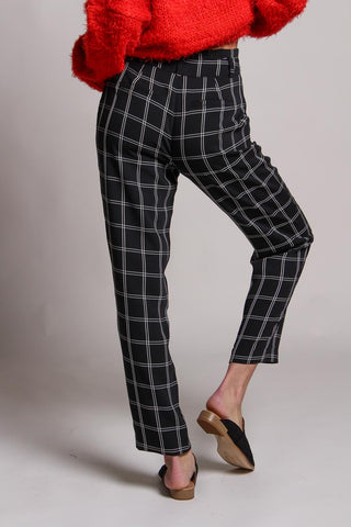 Grid Print Tapered Pant
