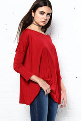 Bamboo Scoop Top - Burgundy
