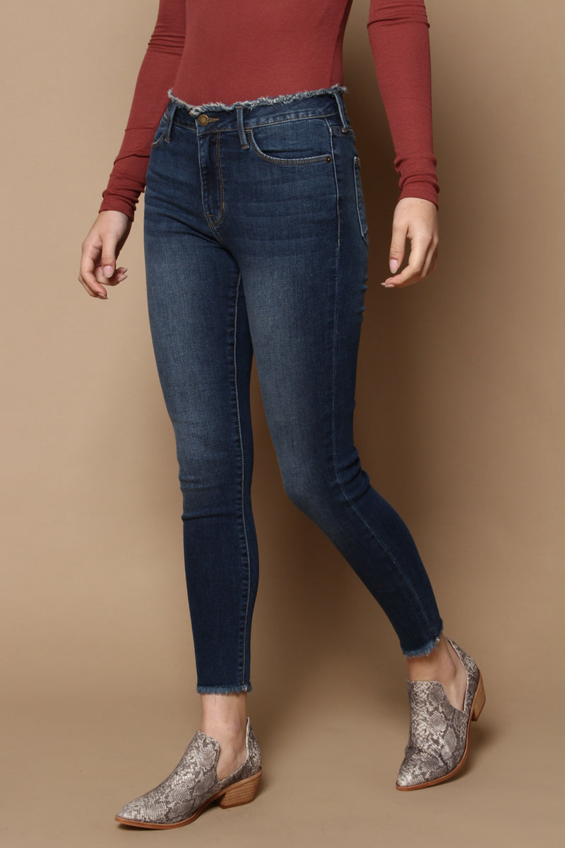 Frayed So Raw Edge Skinny - Dark Wash