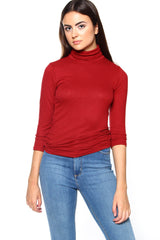Essential Ribbed Turtleneck - Burg