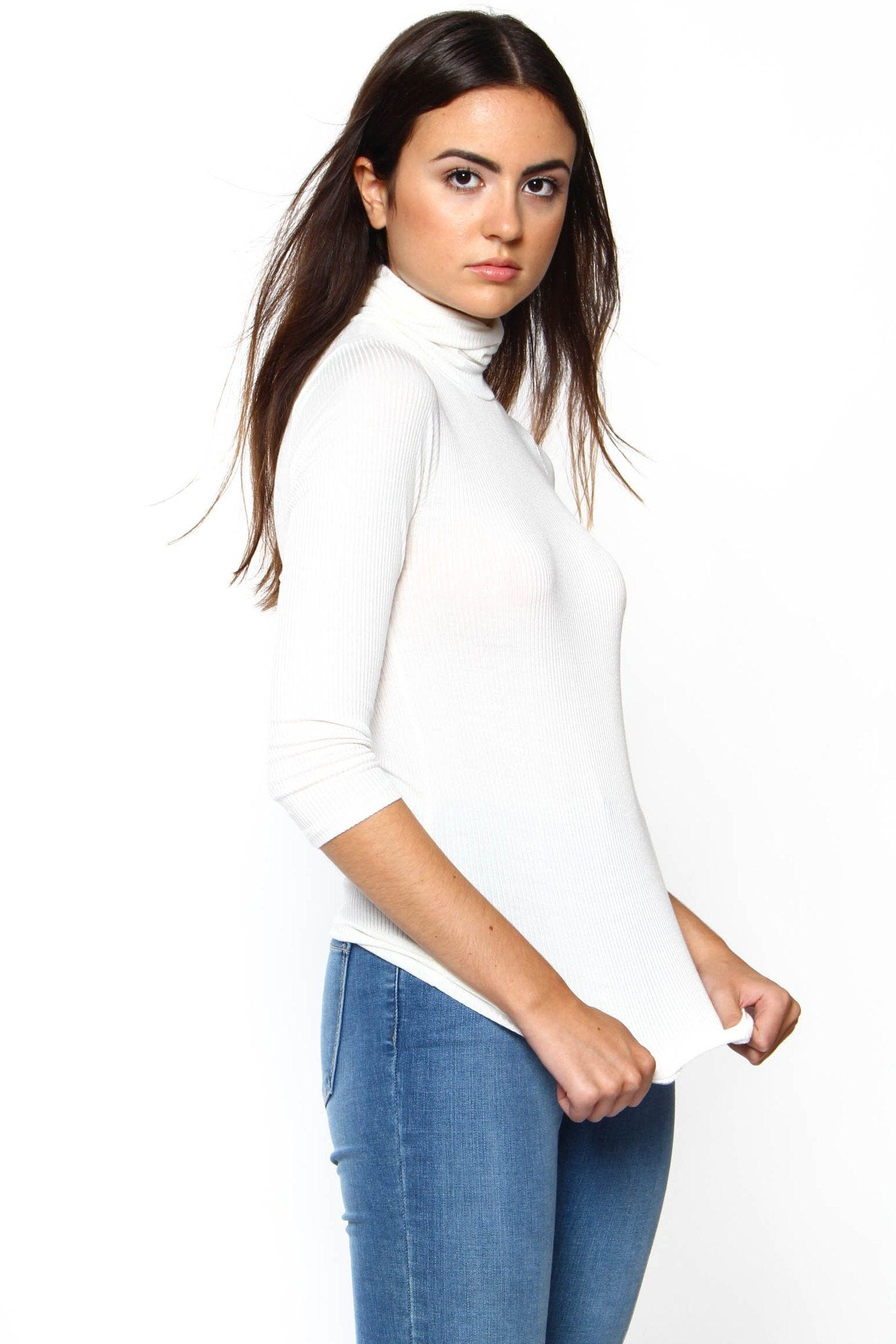 Essential Ribbed Turtleneck - Ivory