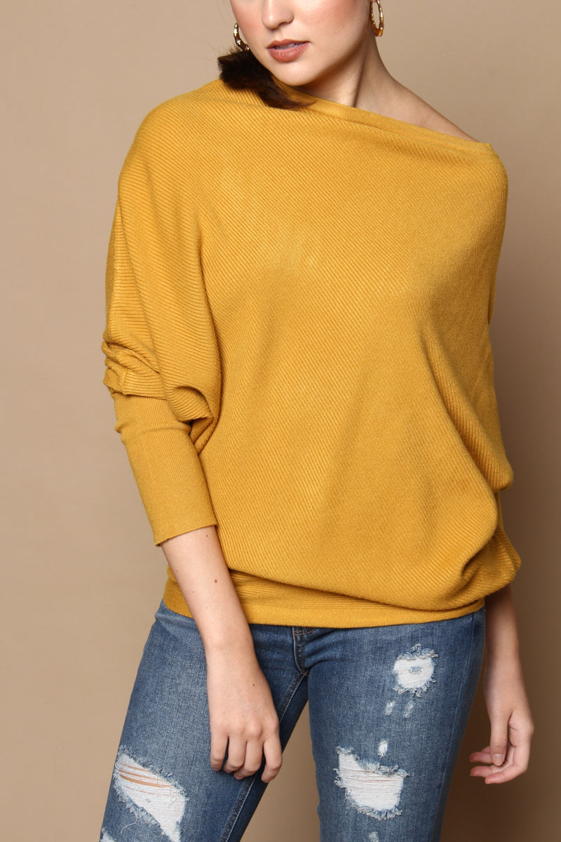 Lean In Off The Shoulder Sweater - Mustard