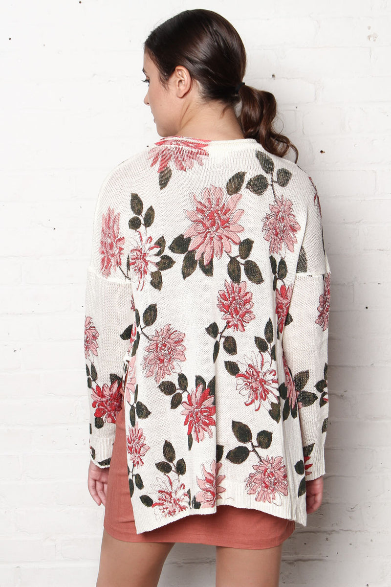 Up To Here Floral Print Hi-Low Knit