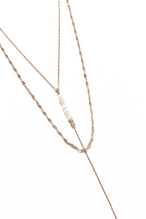 Stacked Pearl Y Necklace