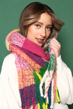Neon Plaid Blanket Scarf