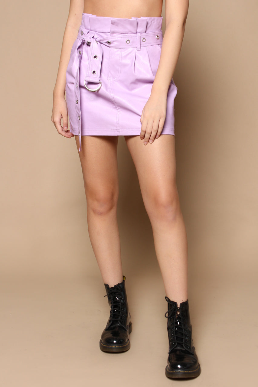 Honey Punch Highwaist Cinch Skirt - Lavendar