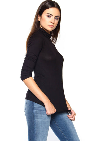 Essential Ribbed Turtleneck - Black