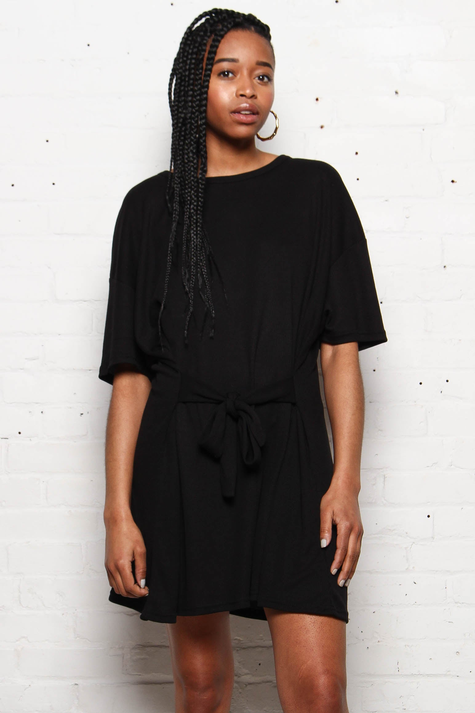 MINKPINK Tie Front Tee Dress - Black