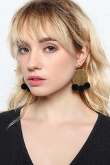 For The Record Pom Pom Earring - Black