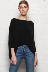 Janie Boxy Knit Crop Top - Black