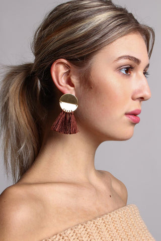 Hinged Crescent Tassel Earrings - Brown