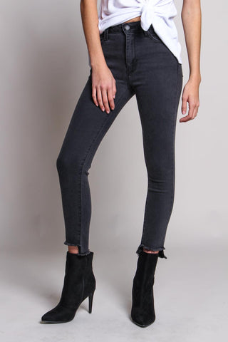 In The Fray Step Hem Skinny Jeans - Washed Black
