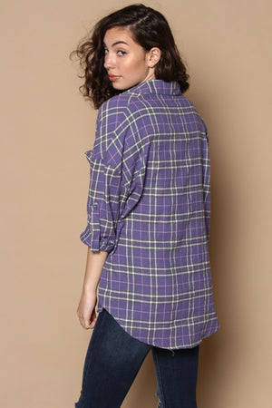 Off Duty Plaid Flannel Buttondown - Violet