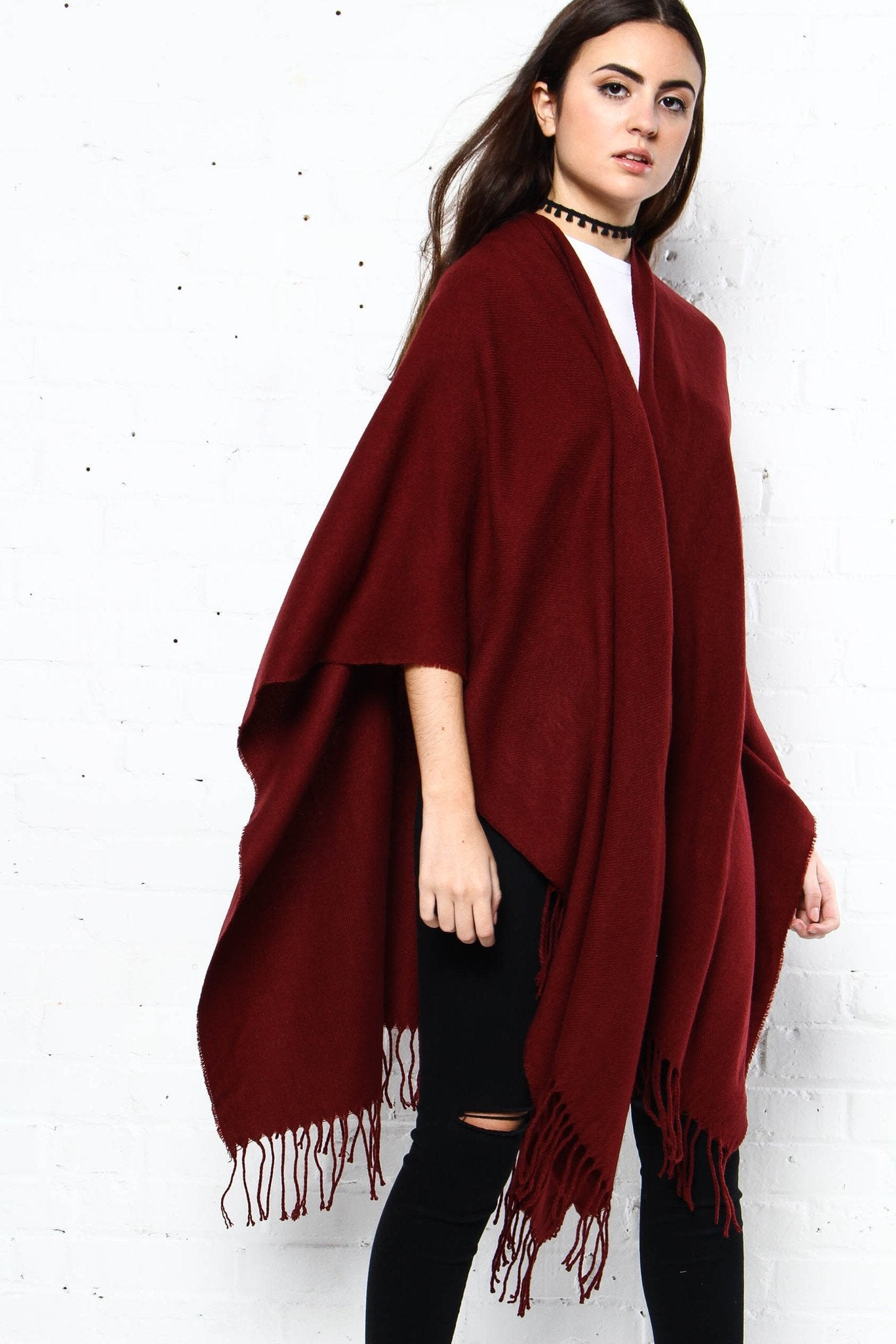 On The Outs Fringe Poncho - Burgundy