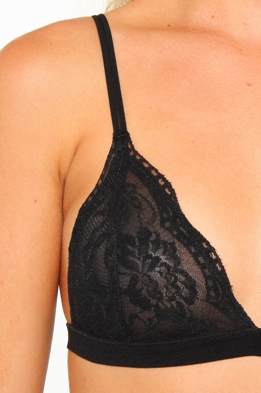 Lace Triangle Bralette - Black