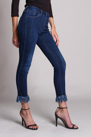 Crop Out Ankle Fringe Skinny Jean - Dark Wash