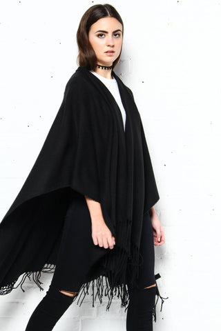 On The Outs Fringe Poncho - Black