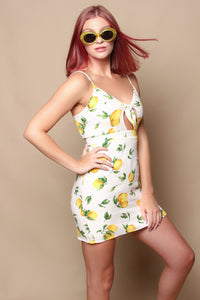 Tie Front Lemon Print Dress