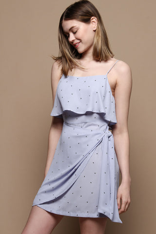 Strappy Tie Waist Print Dress - Light Blue