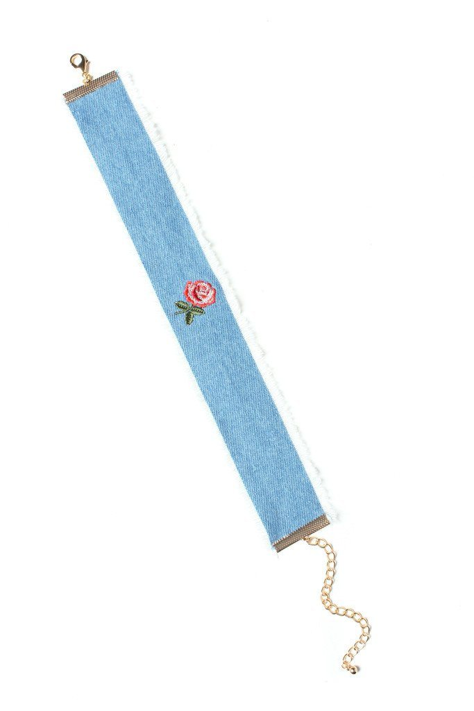 Last Rose Denim Choker