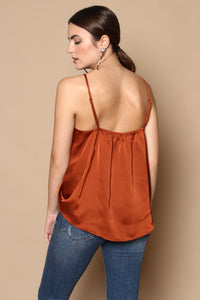 After Glow Satin Surplice Cami Top