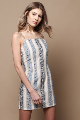 Tie Back Tapestry Slip Dress - Blue