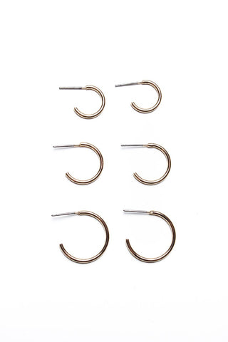 Mini Hoop Earring Set - Gold