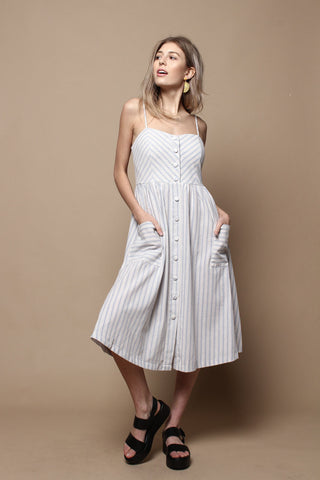Button Down Midi Sun Dress - Blue Stripe