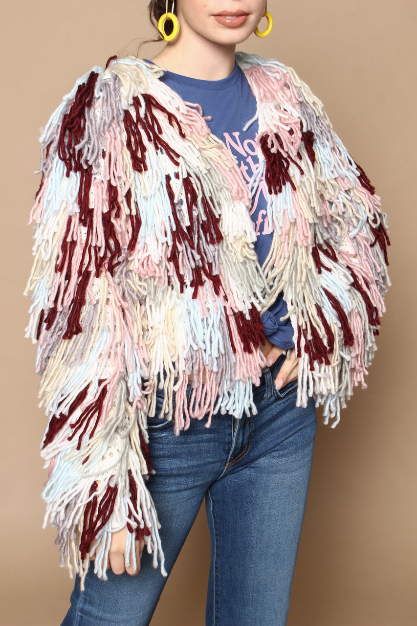 Wild Side Shaggy Cropped Cardi - Multi