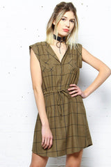 BB Dakota Janis Grid Print Dress