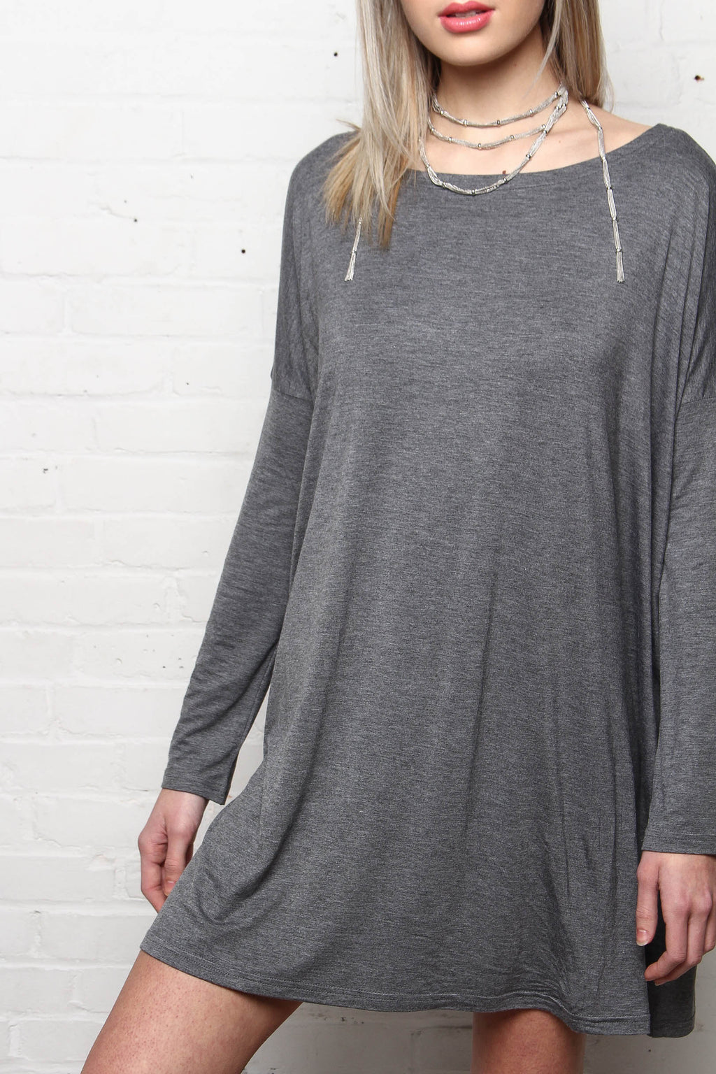 Easy Does It Everyday Tunic Dress - Dark Heather Gray