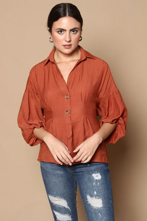 Sundays Off Buttondown Puff Sleeve Top - Rust