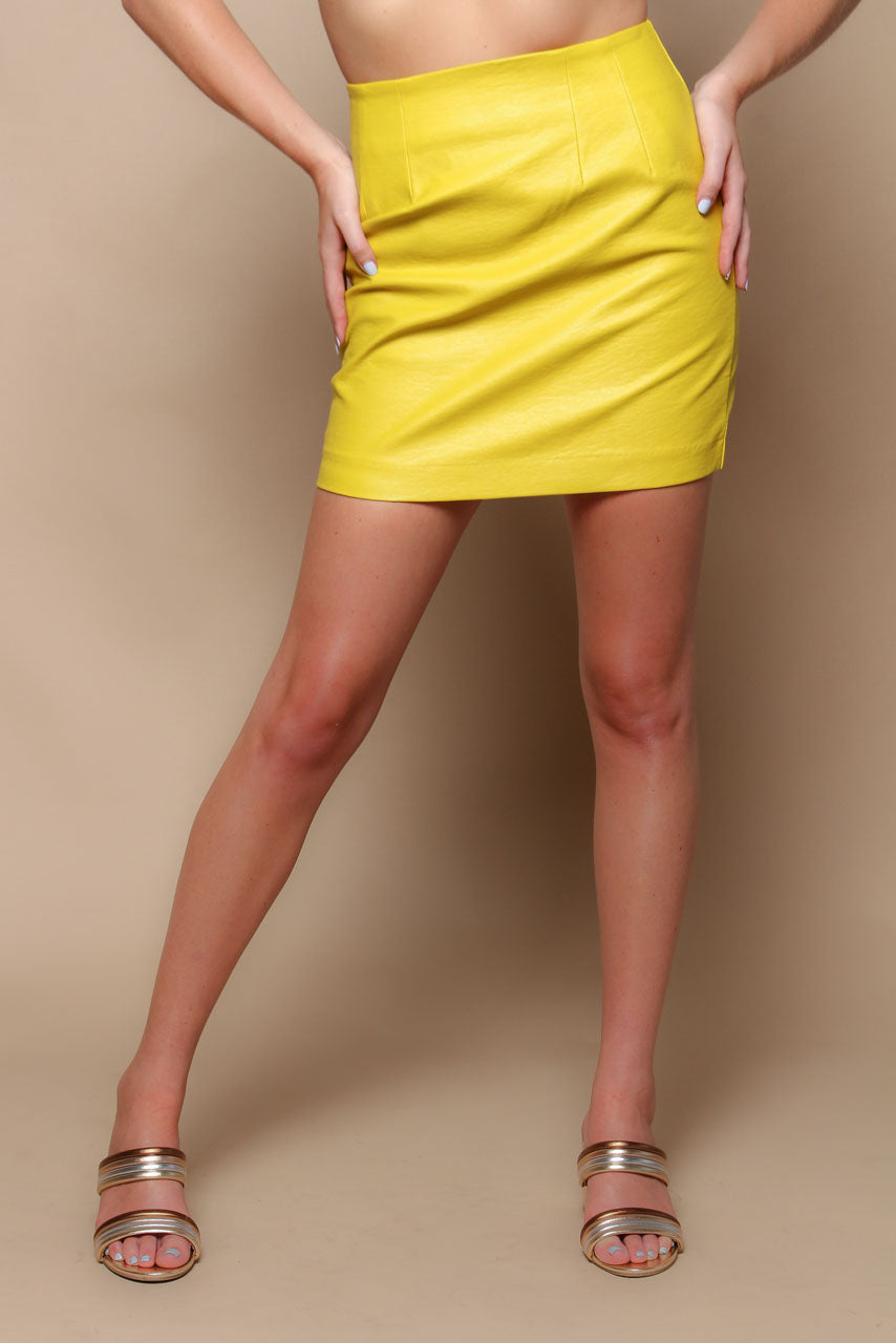 MINKPINK Highwaist PU Mini Skirt - Chartreuse