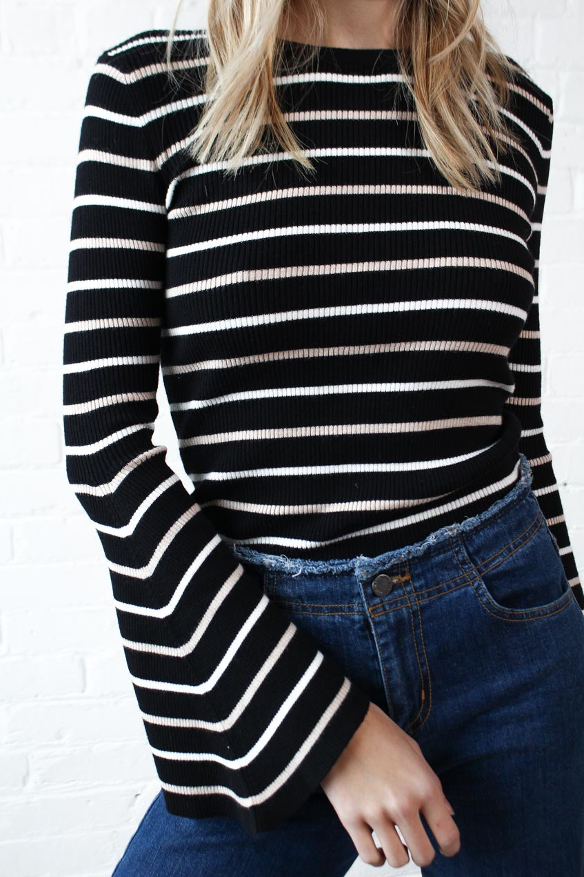 Fine Line Bell Sleeve Top