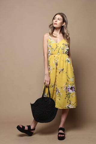 Floral Print Buttondown Midi Dress - Yellow
