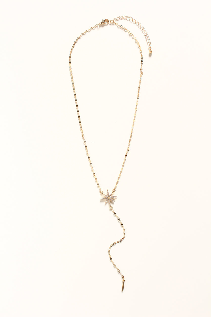 Shooting Star Delicate Y Necklace - Gold