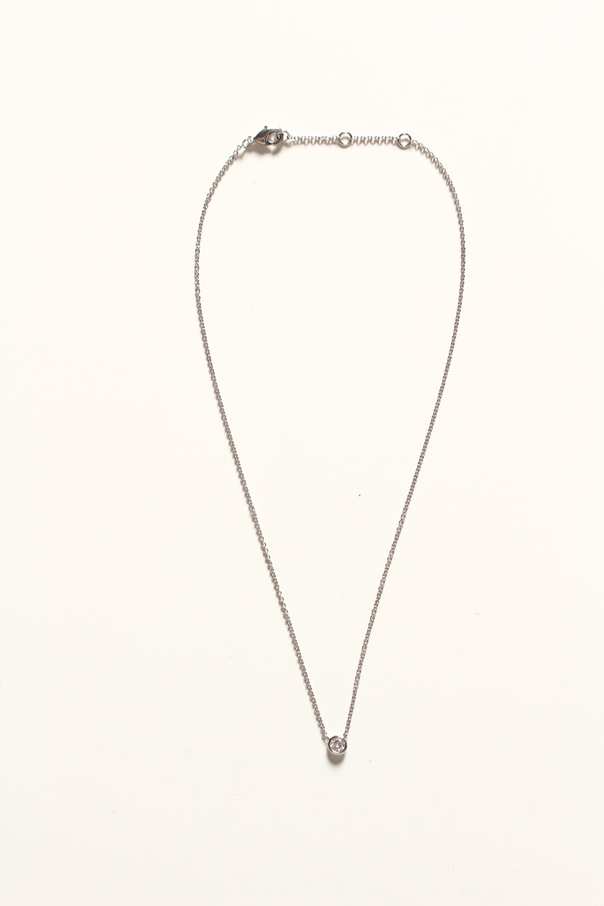 Dainty Gemstone Necklace - Silver